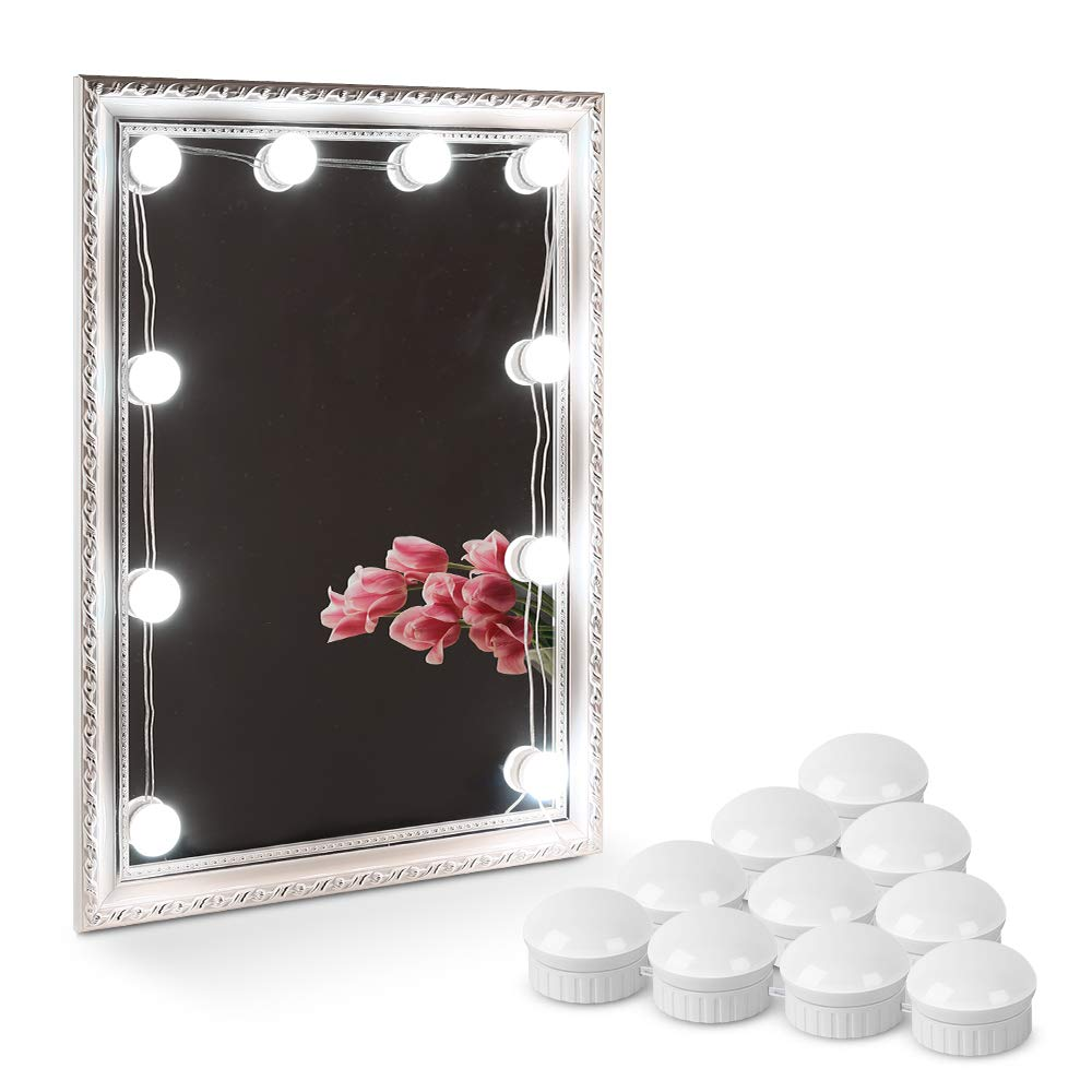 KEDSUM 10Pack LED Vanity Mirror Lights Kit with Upgrade Strong Tape, Dimmable Hollywood Style 7000K Light Bulbs, Daylight Lighting Fixture Strip for Vanity Table Set(Mirror Not Included) (One Color)