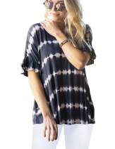 Blooming Jelly Womens Tie Dye Shirt Short Sleeve V Neck T Shirts Casual Loose Tunic Top