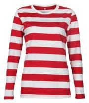 Smile Fish Womens Crew Neck Long Sleeve T-Shirt Striped Tops Pajamas Christmas Tee