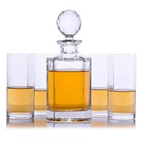 Crystal Whiskey Liquor Decanter with 4 Highball Glasses By Crystalize (5 Piece Highball Set)