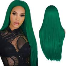 WIGER Green Wig Long Straight Hair Wigs Middle Part Natural Heat Resistant Synthetic Fiber Party Cosplay Costume Full Wigs for Women Girls