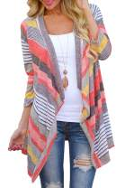 AMiERY Women's Floral Striped Leopard Printed Kimono Casual Loose Open Front Cardigan Tops Cover Up