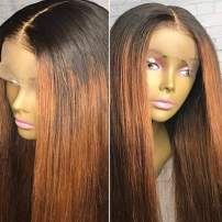 """Ombre Wig Human hair wig for Black Women with Baby Hair Two Tone Color Glueless Lace Front Wigs 10A Brazilian Virgin Human hair wigPre Plucked Silky Straight Ombre blonde Wig (1B/30) 14""""130% Wigs"""