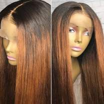 """Ombre Wig Human hair wig for Black Women with Baby Hair Two Tone Color Glueless Lace Front Wigs 10A Brazilian Virgin Human hair wigPre Plucked Silky Straight Ombre blonde Wig (1B/30) 16""""180% Wigs"""