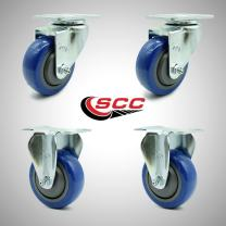 """Stainless Steel Polyurethane Swivel Top Plate Caster Set of 4 w/3.5"""" x 1.25"""" Blue Wheels - Includes 2 Swivel & 2 Rigid - 1000 lbs Total Capacity - Service Caster Brand"""