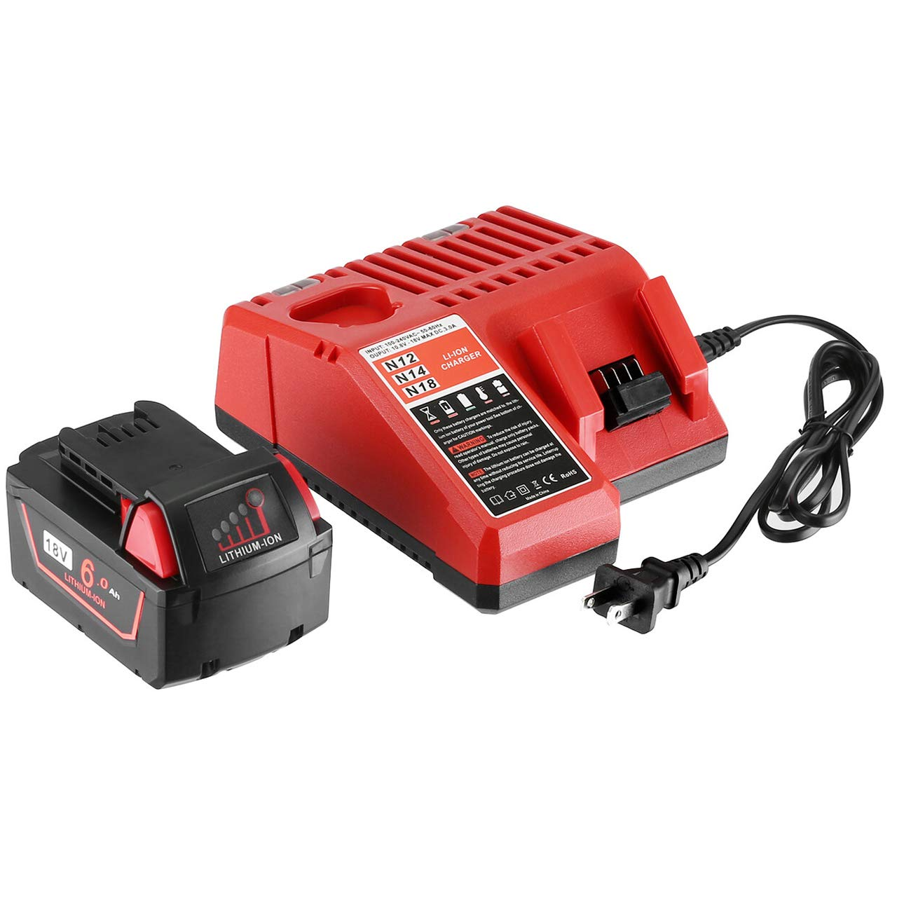 FirstPower 6.0Ah 18V M18 Replacement Battery - Compatible with Milwaukee 48-11-1852 M18 18V Lithium XC Cordless Power Tools & Charger for M12 M14 M18 Li-ion Battery