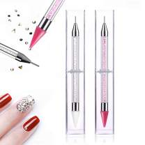 2 Pieces Dual-Ended rhinestone picker,Nail Rhinestone Picker Dotting Tool with 2 Wax Head, Manicure Nail Art DIY Decoration Tool(Pink and White)