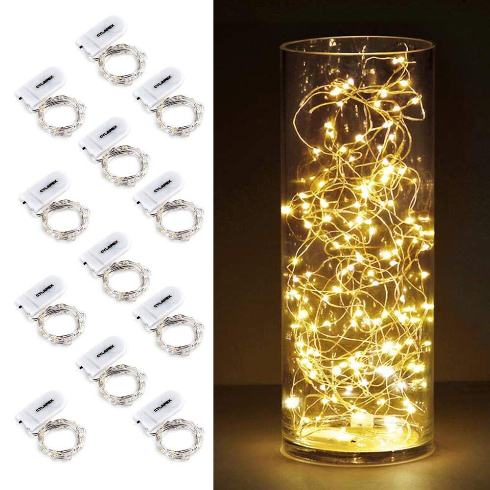 CYLAPEX 12 Pack Fairy Lights Battery Operated String Lights, 20 LED on 3.3ft Silvery Copper Wire, Firefly Fairy String Lights Warm White for Wedding Party Mason Jar Christmas Decorations Bedroom Decor