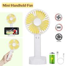 Battery Handheld Fan, Portable Battery Operated Fan : Rechargeable & Adjustable 3 Speeds Mini Personal Electric USB Fan with Desk Stand for Home/Office/Travel/Outdoor (White)
