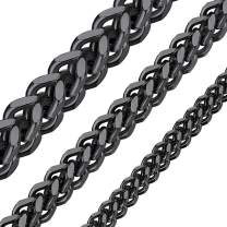 ChainsHouse Men Women Chain 3MM/4.5MM/6MM Flat Franco Curb Link Chain, Stainless Steel/Black Gun Plated/18K Gold Plated Chain Necklace, Send Gift Box