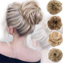 Messy Bun Hair Piece Scrunchy Updo Hair Pieces for Women Fluffy Wavy Hair Bun Scrunchies Donut Hairpiece Synthetic Chignons With Elastic Rubber Band Light Ash Brown & Bleach Blonde-Thicker 1 pc