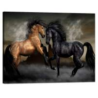 Yatsen Bridge 1 Piece Wall Art Print Black Horses Canvas Painting for Living Room Home Decor Prints and Poster Animal Pictures Modern Set Wooden Framed Ready to Hang for Office(24''W x 18''H)