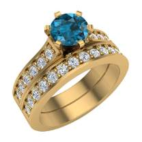 Wedding Rings for Women Bridal Set Blue Diamond Rings 14K Gold - 1.10 ctw Cathedral Style