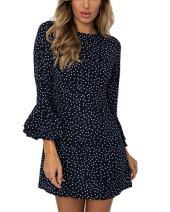 Moxeay Women 3/4 Sleeve Flare Polka Dots Bodycon Mini Dress