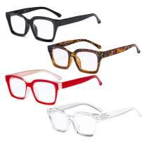 Eyekepper 4 Pack Ladies Reading Glasses - Oversized Square Design Readers for Women +1.50