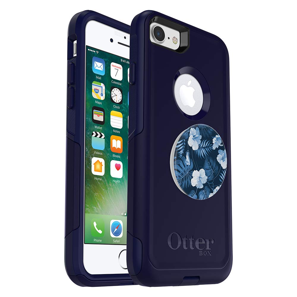 Bundle: OtterBox Commuter Series Case for iPhone 8 & iPhone 7 (NOT Plus) – (Blue) + PopSockets PopGrip – (Blue Island)