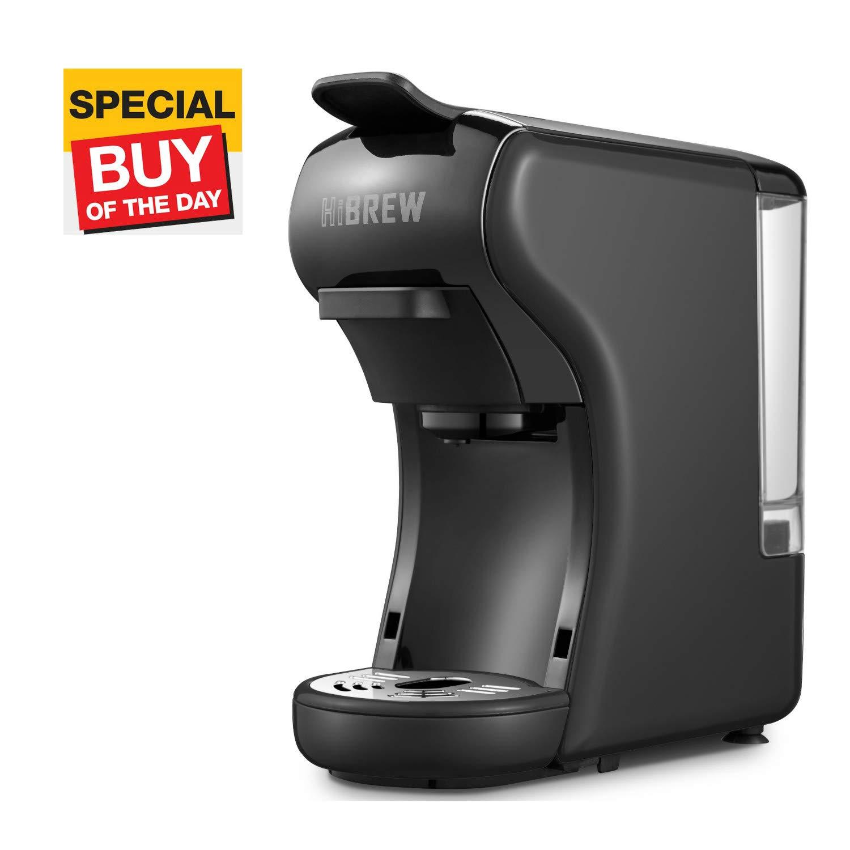 HiBREW 2-in-1 Compact Multi-Function Mini Espresso Coffee Maker Espresso Machine Travel Size Compatible with Ground Coffee and Nespresso Capsule (Black)