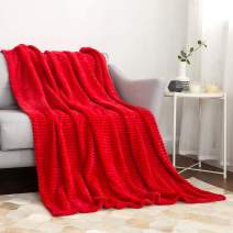 MIULEE Fluffy Throw Blanket Soft Fleece Stripes Pattern Blanket Lightweight Breathable Sofa Blankets for Relax Napping Sleeping (Throw Size, Red)