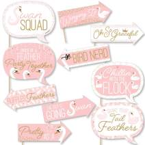 Funny Swan Soiree - White Swan Baby Shower or Birthday Party Photo Booth Props Kit - 10 Piece