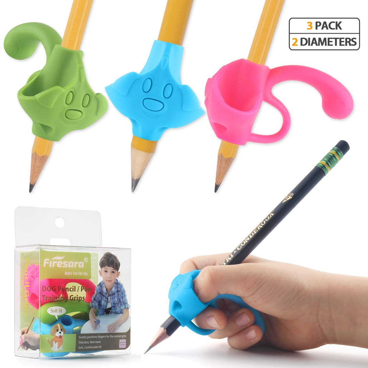 Firesara Top Class Pencil Grips, 2020 Original Patent Five Finger Fixed and Two Sizes Writing Correction Device Handwriting Aid for Kids Children Preschool Adult Lefties and Righties
