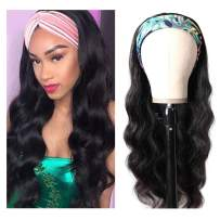 Body Wave Human Hair Headband Wigs for Black Women Brizilian Human Hair Body Wave Headband Wigs Glueless 150% Density None Lace Front Wigs 16 Inch