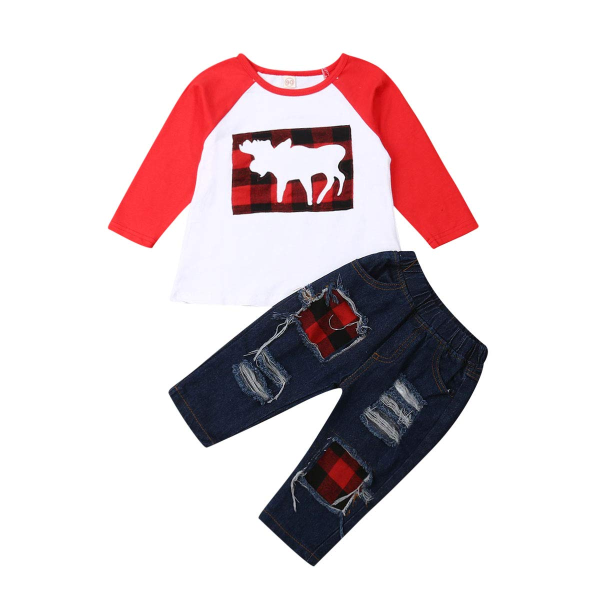 Boys Ripped Jeans Set Plaid Moose Long Sleeve Sweatshirt + Denim Pants Toddler Xmas Outfits