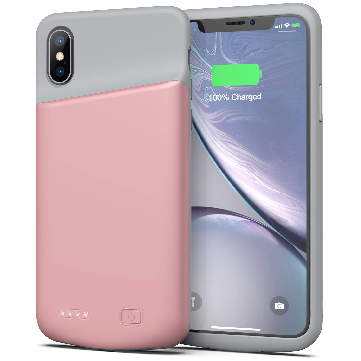 Swaller Battery Case for iPhone X/XS, 4000mAh Ultra Slim Protective Charging Case Rechargeable Extended Battery Pack for 5.8 inch iPhone X/XS (Pink)