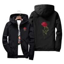 Sunisery Men's Women Casual Hooded Jacket Windbreaker Embroidery Rose Spring Fall Streetwear College Style