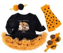 FANCYINN Baby Girls Halloween Costumes Tutu Outfit Pumpkin Long Sleeve Infant Party 4 Pieces Set