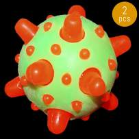 """Lumistick 2.5"""" LED Light-Up Bouncy Spikes Ball   Glowing Squeeze Rubber Stress Relief Blinking Sensory Flashing Lights Knobby Toy Ball (Green/Orange, 2 Bouncy Balls)"""