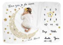 """Baby Monthly Milestone Blanket for Boy and Girl,Monthly Blanket for Baby Pictures,Baby Photo Blanket for Newborn (Golden Moon, 40"""" x 60"""")"""