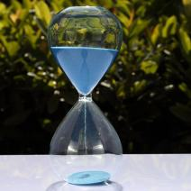 Large Fashion Colorful Sand Glass Sandglass Hourglass Timer Clear Smooth Glass Measures Home Desk Decor Xmas Birthday Gift (Blue, 10 Minutes)