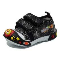Boys Canvas Sneaker Outdoor Protective Toe Cap Hook & Loop Boat Shoes