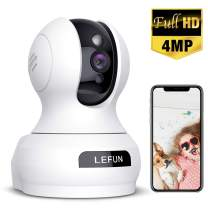 Wireless Security Camera, Lefun 4MP WiFi Baby Monitor Surveillance IP Home Camera with Sound Detection Motion Tracking Two Way Audio Cloud Service Night Vision Supports 2.4GHz Network for Pets Babies