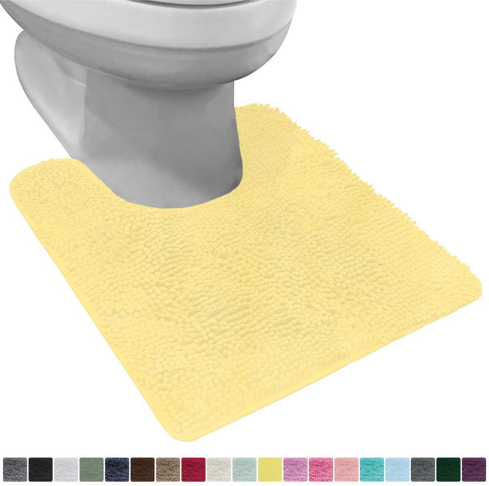 Gorilla Grip Original Shaggy Chenille Oval U-Shape Contoured Mat for Base of Toilet, 22.5x19.5 Size, Machine Wash and Dry, Soft Plush Absorbent Contour Carpet Mats for Bathroom Toilets, Yellow