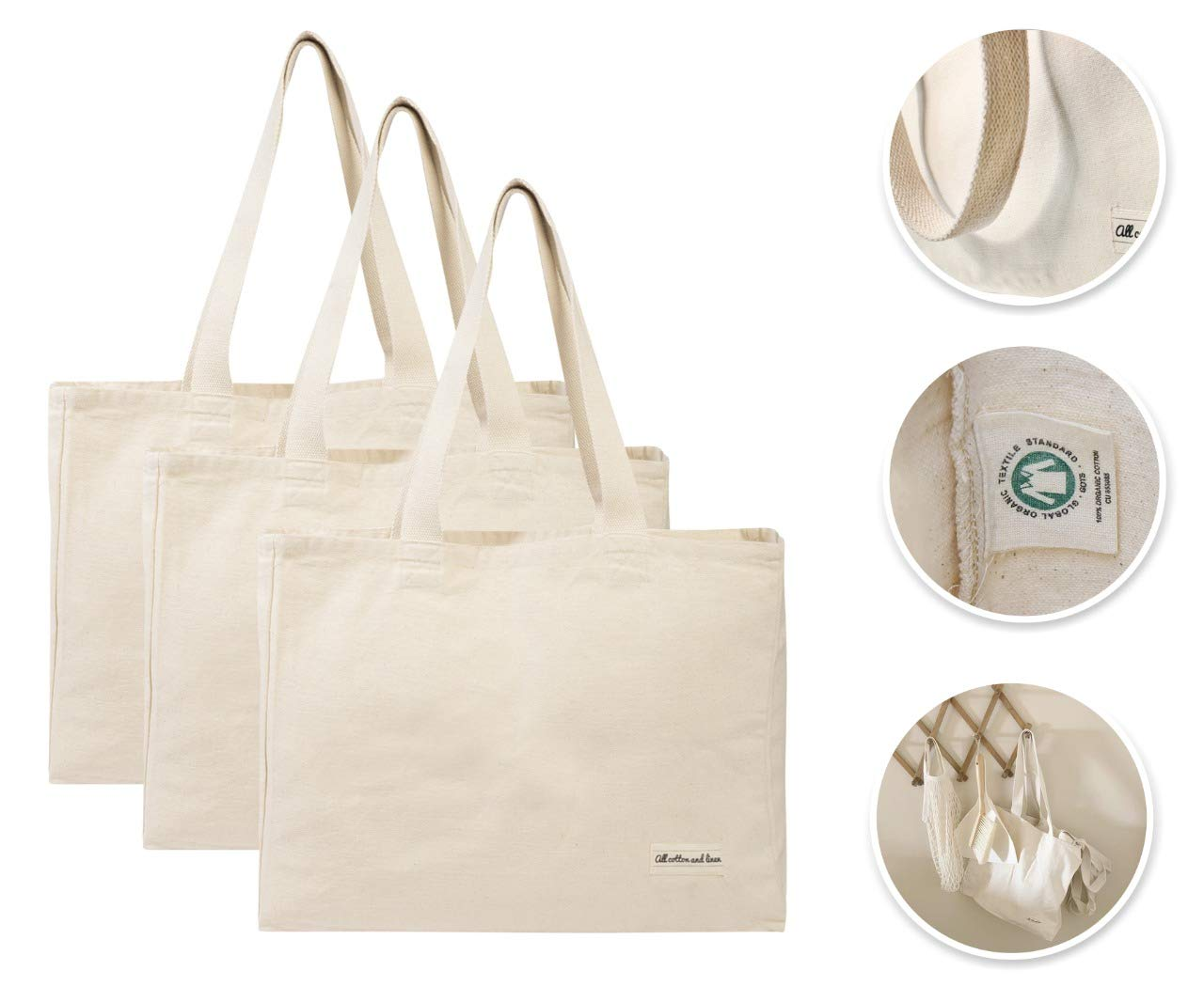 Cotton Shopping Tote Bags - Canvas Grocery Shopping Bags with Handles - Cloth Grocery Tote Bags - Reusable Grocery Bags - Organic Shopping Tote Washable - Cotton Tote Bag Eco-friendly(3 Bags Natural)
