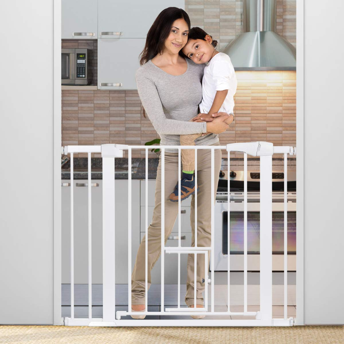 """40.5"""" Auto Close Safety Gate, KingSo Baby Gate Extra Wide 29.5""""-40.5'' Walk Thru with Pet Door for House Stairs Doorways Hallway. Include 4 Pressure Bolts, 4 Wall Cups, 2.75'' & 5.5'' Extension, White"""