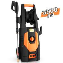 mrliance 3500PSI Electric Pressure Washer 2.0GPM Power Washer 1800W High Pressure Washer Cleaner Machine with Spray Gun, Hose Reel, Brush, and 4 Adjustable Nozzles (Orange)