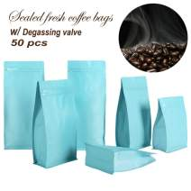 Matte Coffee Beans Bags with Degassing Valve Foil Stand-up Food Zip Lock Storage Bags Pouches Airtight Flower Tea Snack Dried Fruit Food 8 OZ High Barrier 50 Pack (Sky Blue)