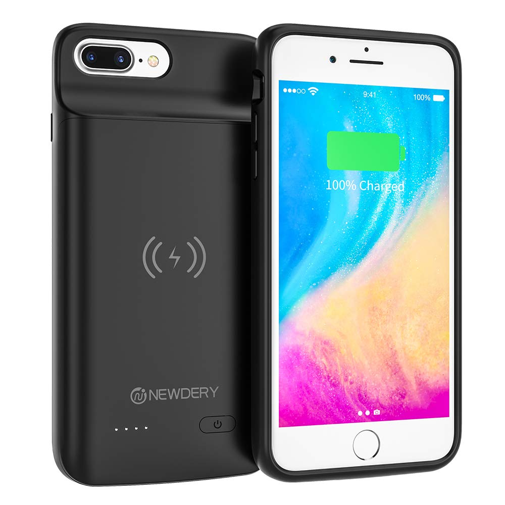 NEWDERY Battery Case for iPhone 7 Plus, 8 Plus, 5000mAh Wireless Charging Case for iPhone 7 Plus 8 Plus Rechargeable Extended Battery Pack Protective Charger Case Portable Power Bank 5.5inches