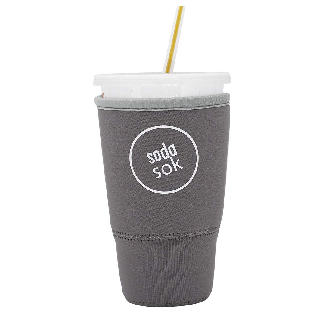 Soda Sok Reusable Insulated Neoprene Drink Sleeve for Iced Fountain Drinks and Soda Cups (Dark Grey, 32oz Large)