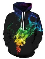 Leapparel Unisex Pullover Colorful 3D Hoodie Galaxy Sweatshirt for Men and Women Cool Graphic Prints Sweater with Big Pocket