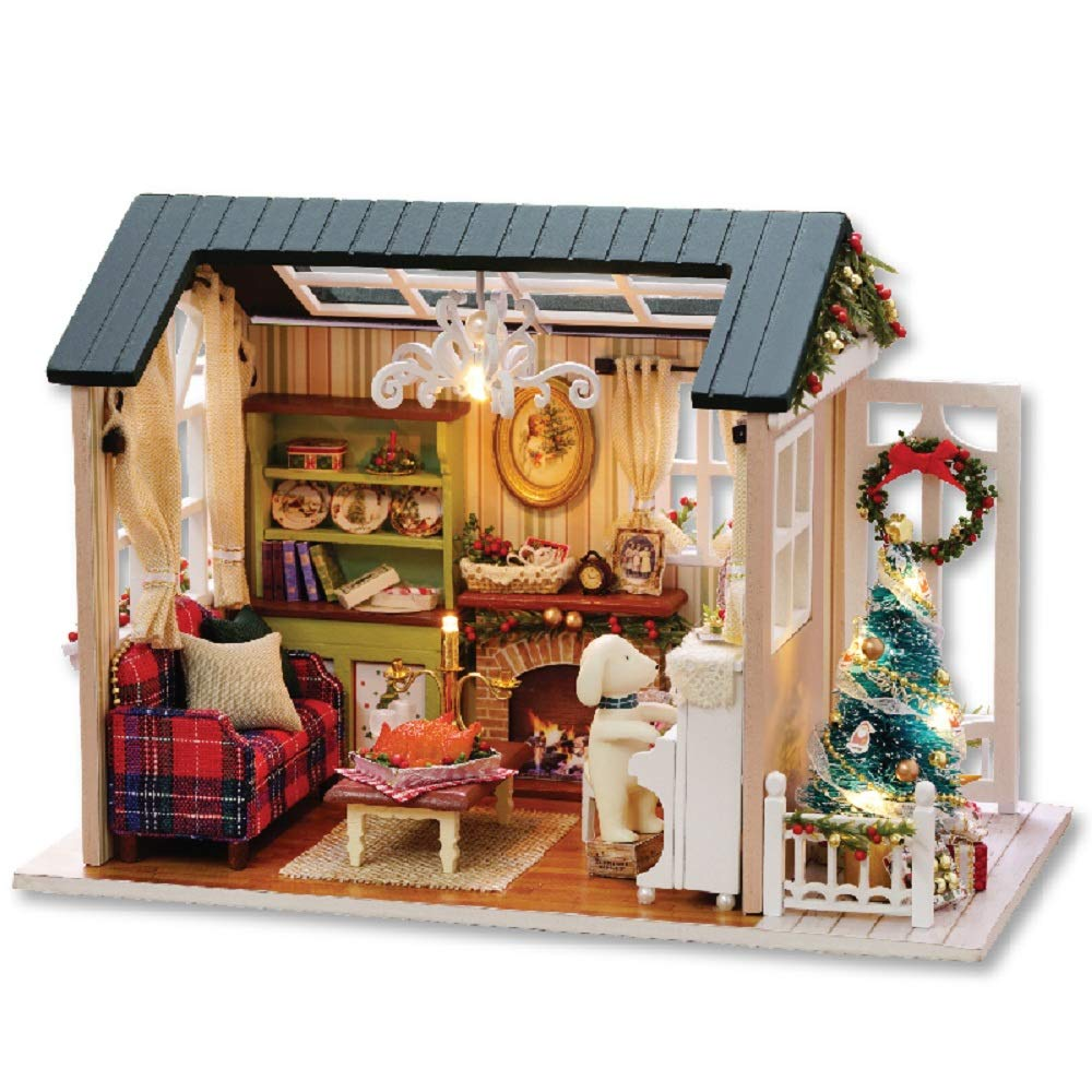 Flever Dollhouse Miniature DIY House Kit Creative Room with Furniture for Romantic Artwork Gift(Holiday Time Plus Dust Proof and Music Box)