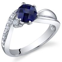 Ethereal Curves 1.25 carats Created Sapphire Ring in Sterling Silver Rhodium Nickel Finish Sizes 5 to 9