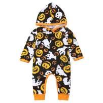 Baby Boys Girls Long Sleeve Halloween Pumpkin Hoodie Romper One-Piece Jumpsuit