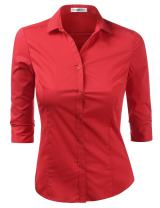 Doublju Womens Basic Slim Fit Stretchy 3/4 Sleeve Button Down Collared Shirt with Plus Size
