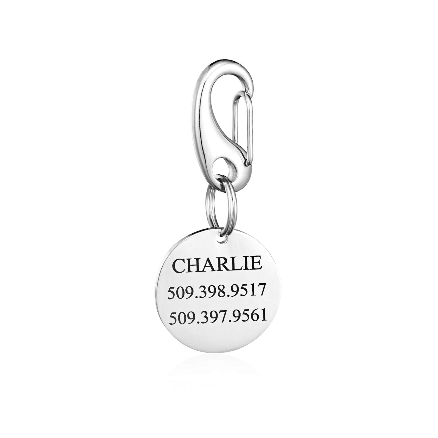 CHIC & ARTSY Dog Tag Custom and Quick Pet Clip Combos,Personalized pet ID Tags Engraved Front & Back,Stainless Steel