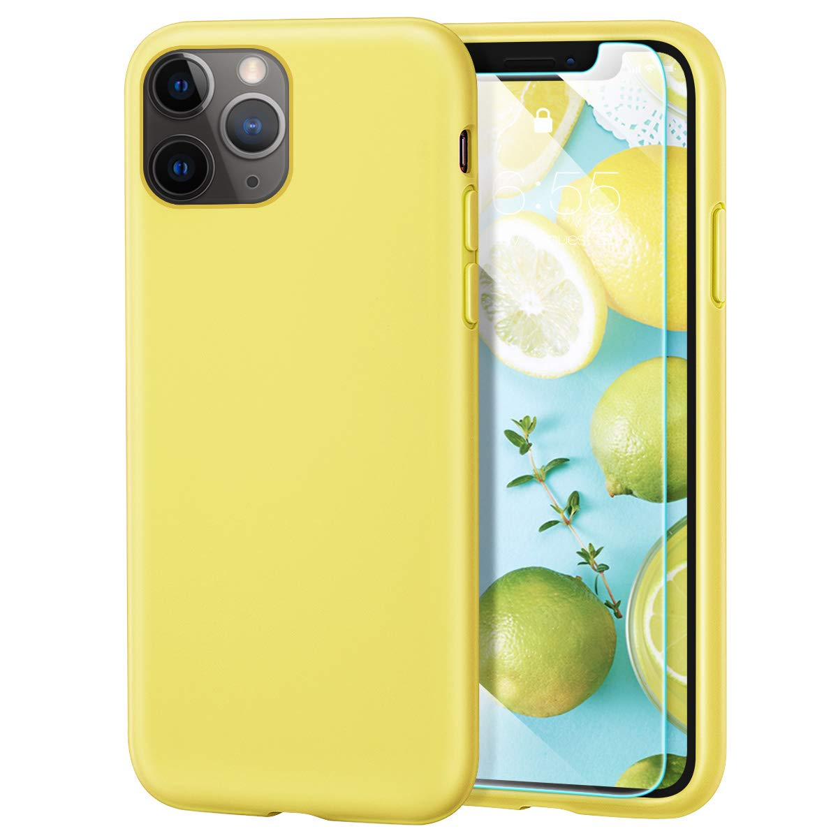 MILPROX iPhone 11 Pro Max Case with Screen Protector, Liquid Silicone Gel Rubber Shockproof Slim Shell, Soft Microfiber Cloth Lining Cushion Cover for iPhone 11 Pro Max 6.5 inch (2019)-Lemon Yellow