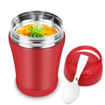 Soup Thermos for Kids Wide Mouth,13.5oz Thermos Food Jar with Spoon,Leak Proof Food Flask,Stainless Steel Vacuum Insulated Lunch Container,Small Thermal Bento Lunch Box for Hot Food (Red)