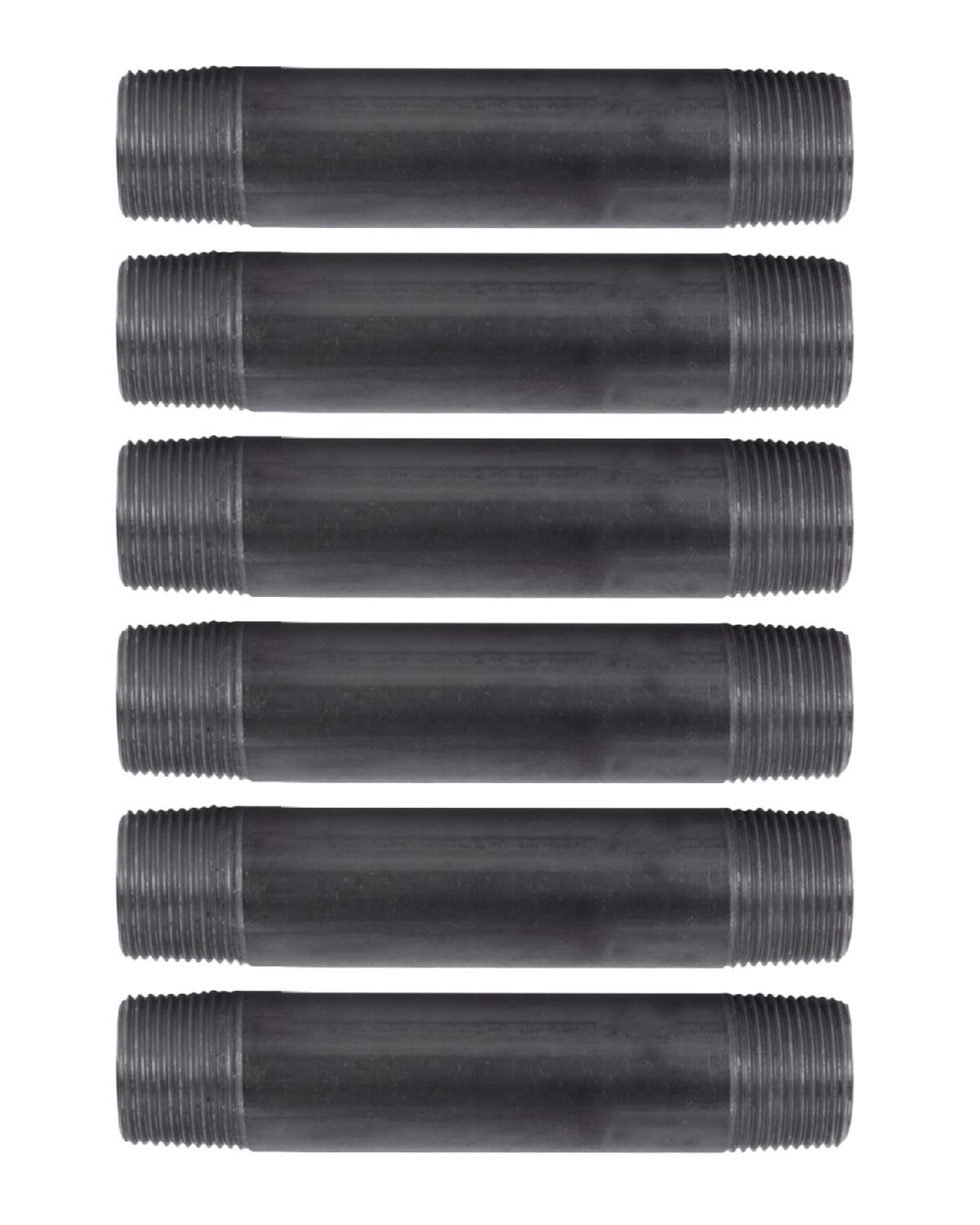 "Pipe Decor 1"" x 6"" Malleable Cast Iron Pipe, Pre Cut Connector, Industrial Steel Grey Fits Standard One Inch Black Threaded Pipes Nipples and Fittings, Build Vintage DIY Furniture, Six Inches, 6 Pack"